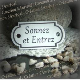 """Petite plaque émaillée forme retro """"sonnez et entrez"""""""