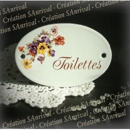 Plaque ovale de porte toilettes émail blanc décor pensées