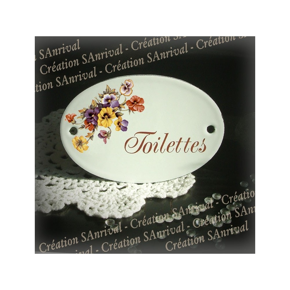 White Oval enamel plate for door decor pansy toilettes