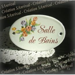 """Plaque ovale de porte émail blanc décor tulipe """"salle de bains"""""""
