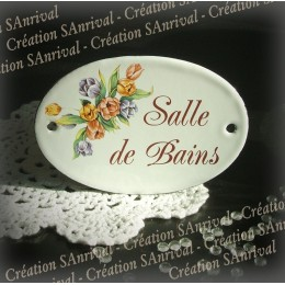 "White Oval enamel plate for door decor tulip ""salle de bains"""
