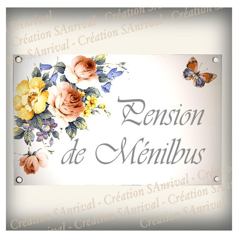plaque maison personnalis e maill e blanc d cor bouquet du jardin texte english bleu 14x23cm. Black Bedroom Furniture Sets. Home Design Ideas