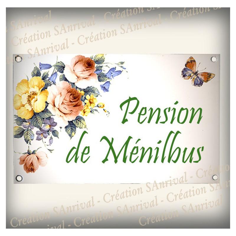 Plaque Maison Personnalis E Maill E Blanc D Cor Bouquet