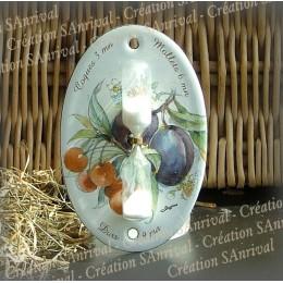 Sablier émail blanc décor prune cerises