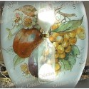 Sablier émail blanc décor prune raisins