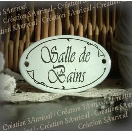 Salle de Bains : plaque ovale émaillée bombée 7x4cm