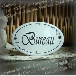 Small enamel Oval Plate of door : Bureau