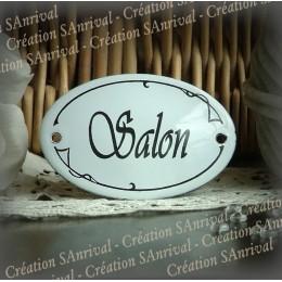 Salon : plaque ovale émaillée bombée 7x4cm