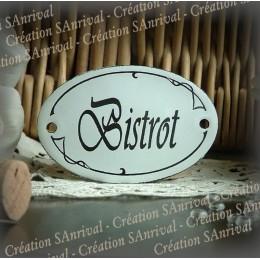 Petite Plaque Ovale de porte en émail : Bistrot