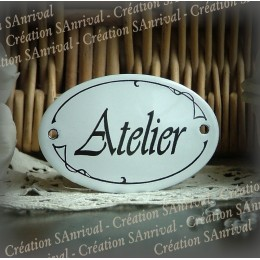 Small enamel Oval Plate of door : Atelier