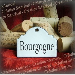 Little label in white enamel for your wine cellar : Bourgogne