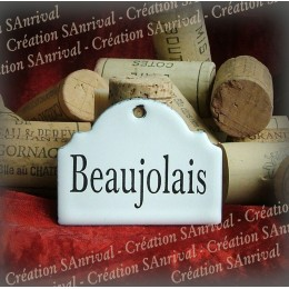 Little label in white enamel for your wine cellar : Beaujolais
