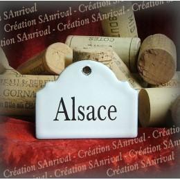 Petite Etiquette en émail blanc pour la cave : Alsace