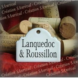 Petite Etiquette en émail blanc pour la cave : Lanquedoc-Roussillon