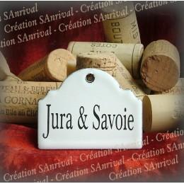 Petite Etiquette en émail blanc pour la cave : Jura Savoie