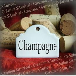 Petite Etiquette en émail blanc pour la cave : Champagne