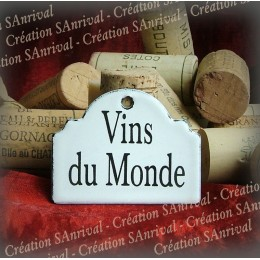 Little label in white enamel for your wine cellar : Vins du Monde