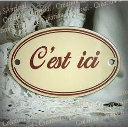 Ivory enamel plate : : C'est Ici