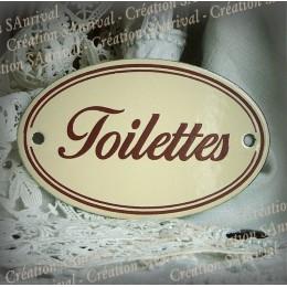 plaque ovale émaillée ivoire texte marron double filet : Toilettes