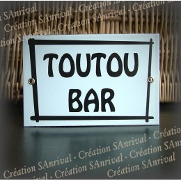 "Enamel plate ""Toutou Bar"" with net"