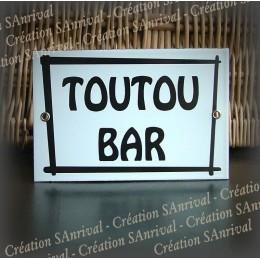 """Plaque émaillée """"Toutou Bar"""" avec filet 15x10cm"""