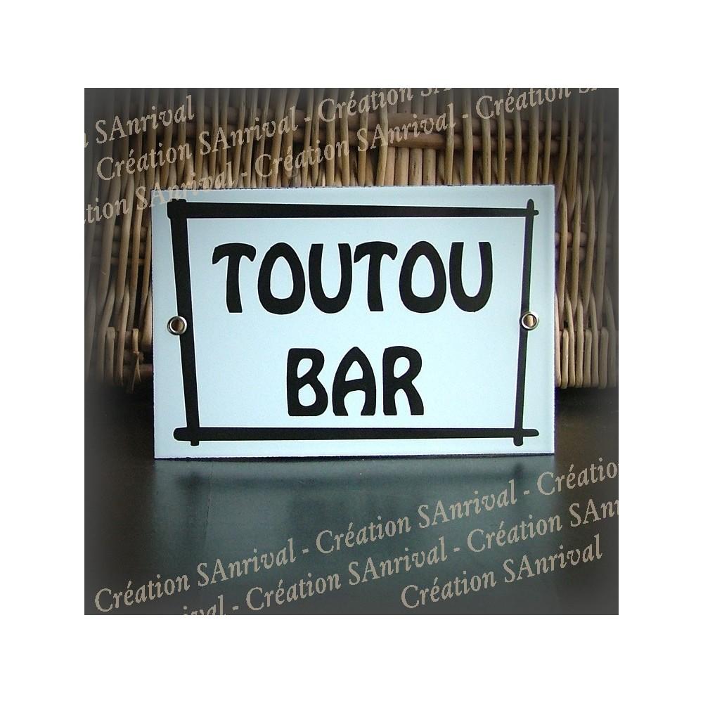 """Enamel plate """"Toutou Bar"""" with net"""
