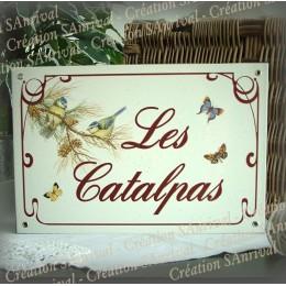 Plaque émaillée gres 30x20cm décor Mésange bleue texte english liseré anglais