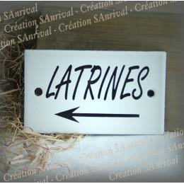 """Plaque émaillée 10x6cm """"Latrines + flèche gauche"""""""