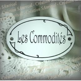"oval enamelled door Plate ""Les Commodités"""