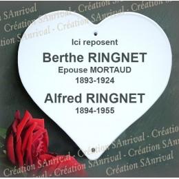 Coeur funéraire personnalisée émaillée blanc forme coeur avec filet