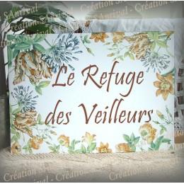 Plaque de Maison émail blanc décor tulipes perroquet avec votre texte 32x23,5cm