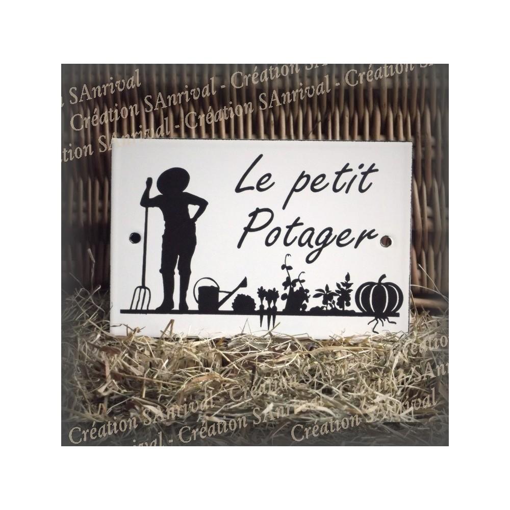 """Plaque émaillée blanche """"Le petit Potager"""""""