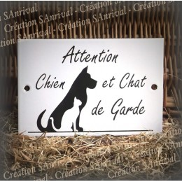 "Enamel plate ""Attention Chien et Chat de garde"""