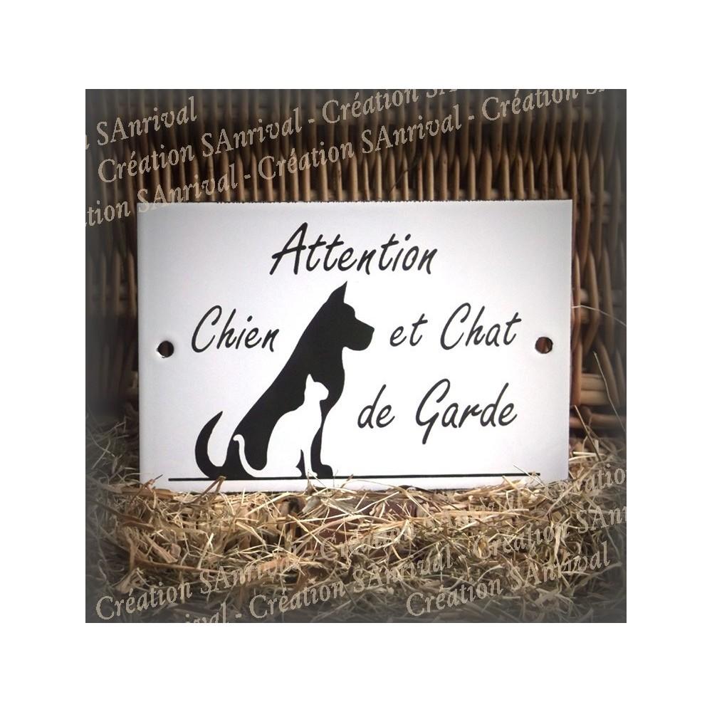 """Plaque émaillée blanche """"Attention Chien et Chat de Garde"""""""