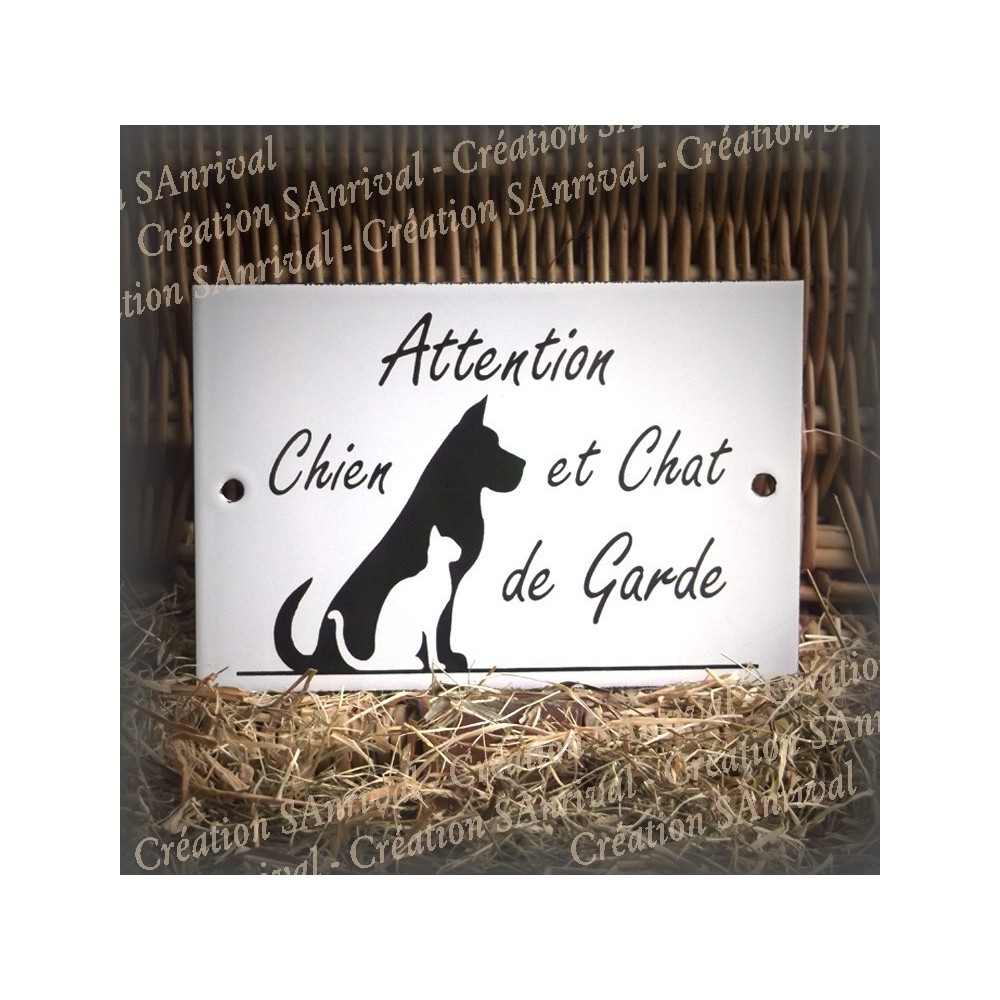 plaque maill e blanche attention chien et chat de garde. Black Bedroom Furniture Sets. Home Design Ideas