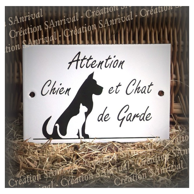 plaque maill e blanche attention chien et chat de garde. Black Bedroom Furniture Sets. Home Design Ideas