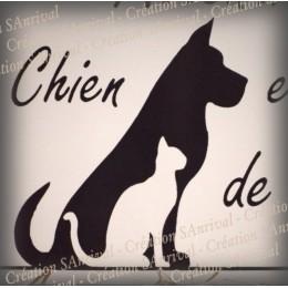 """Enamel plate """"Attention Chien et Chat de garde"""" zoom"""
