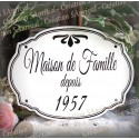 Plaque de famille en émail blanc