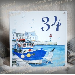 Street Number enamelled Harbour decoration 6x6in