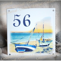 Street Number enamelled Sailboats decoration 6x6in