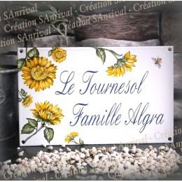 Plaque de Maison 23x14cm décor Tournesol + texte personnalisé