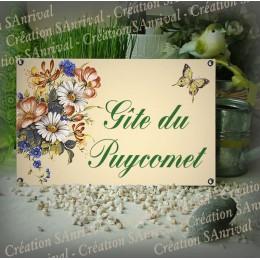 Plaque de Maison 23x14cm décor Fleurs des prés + texte personnalisé