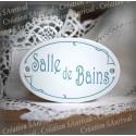 "Plaque de porte ovale sérigraphie bleu gris ""Salle de Bains"""