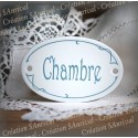 "Plaque de porte ovale sérigraphie bleu gris ""Chambre"""