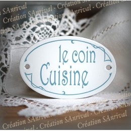 "Oval door plate silk-screens grey blue ""Coin Cuisine"""