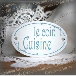 "Plaque de porte ovale sérigraphie bleu gris ""Coin Cuisine"""
