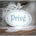 """Plaque de porte ovale sérigraphie bleu gris """"Privé"""""""
