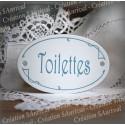 """Plaque de porte ovale sérigraphie bleu gris """"Toilettes"""""""