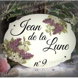 Plaque de maison émaillée décor lilas