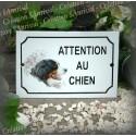 """Plaque émaillée """"Attention je monte la garde"""" décor Bouvier"""